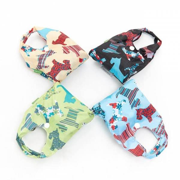 35151 A08  New Floral Scotty Dog Foldable Shopper Pack Of 4