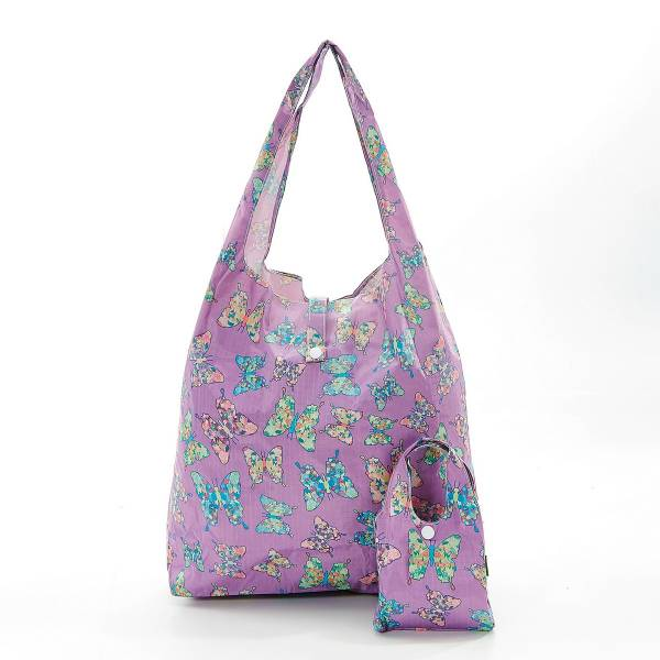 35178 A15  Lilac Butterfly Foldable Shopper Pack Of 2