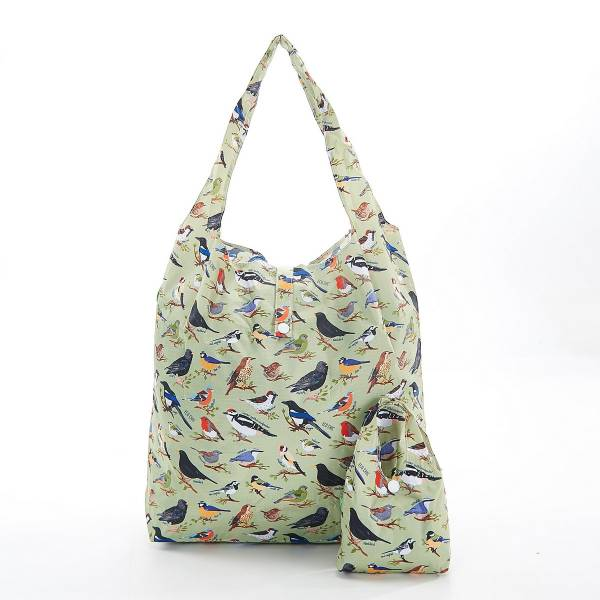 35182 A17  Green Wild Birds Foldable Shopper Pack Of 2
