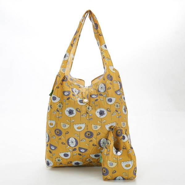 35184 Mustard 1950's Flower Foldable Shopper Pack Of 2