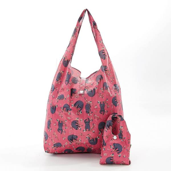 35185 Fuchsia Sloth Foldable Shopper Pack Of 2