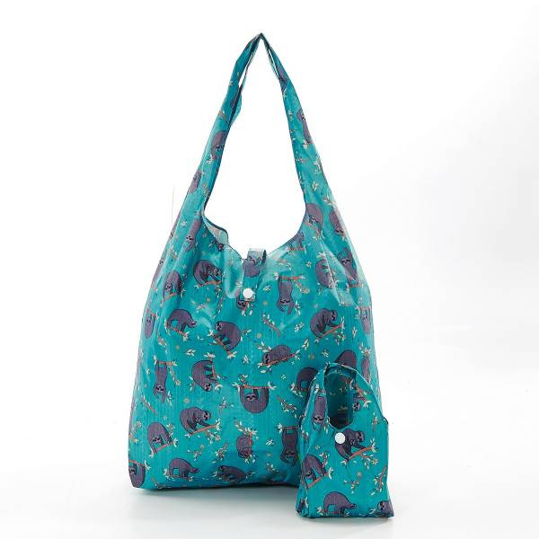 35185 Teal Sloth Foldable Shopper Pack Of 2