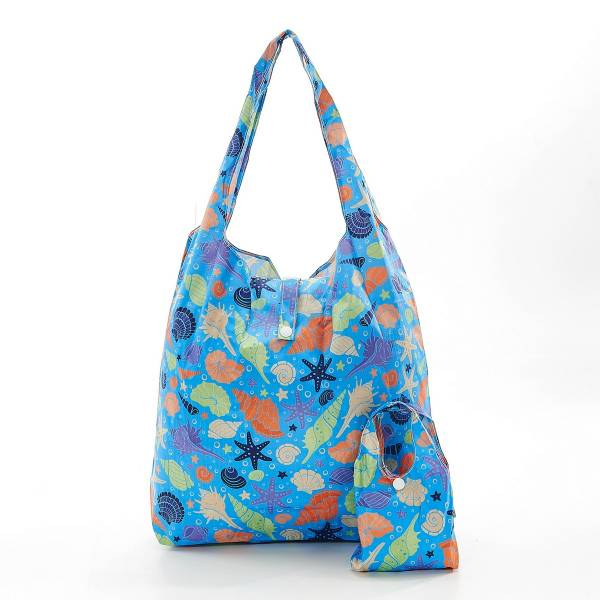 35186 Blue Seashells Foldable Shopper Pack Of 2