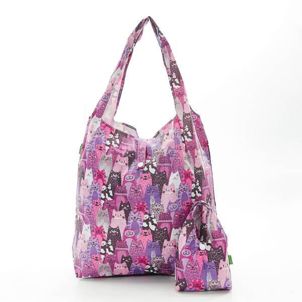 35188 Purple Cats Foldable Shopper Pack Of 2