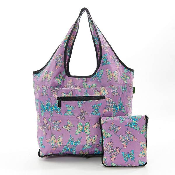 35269 Lilac Butterfly Foldable Weekend Bag Pack Of 2