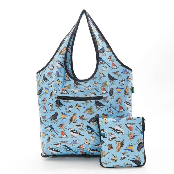 35271 Blue Wild Birds Foldable Weekend Bag Pack Of 2