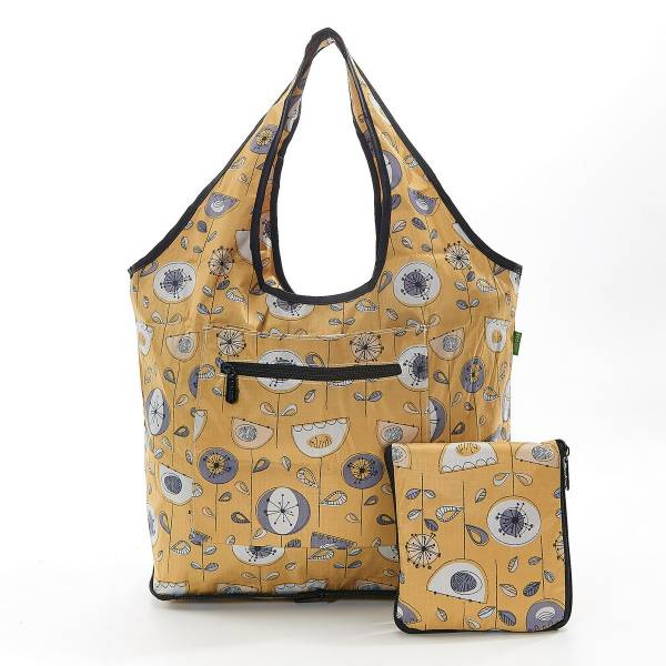 35272 Mustard 1950's Flower Foldable Weekend Bag Pack Of 2