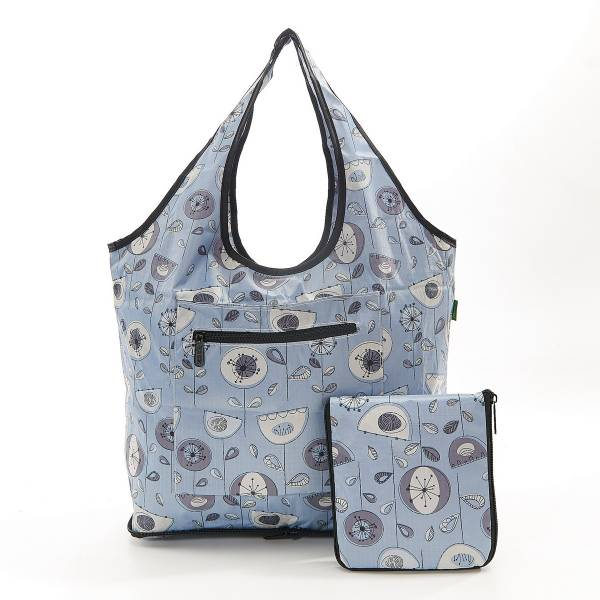 35272 F09  Grey 1950's Flower Foldable Weekend Bag Pack Of 2