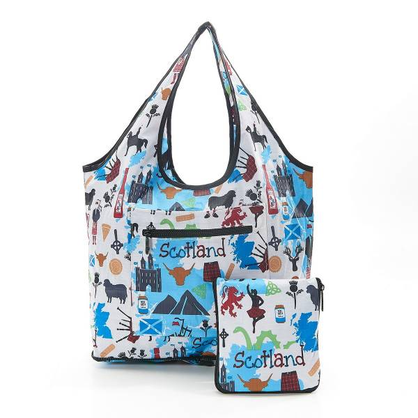 35279 White Scottish Montage Foldable Weekend Bag Pack Of 2