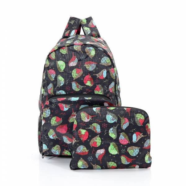 35326 Black Robin Print Foldaway Backpack