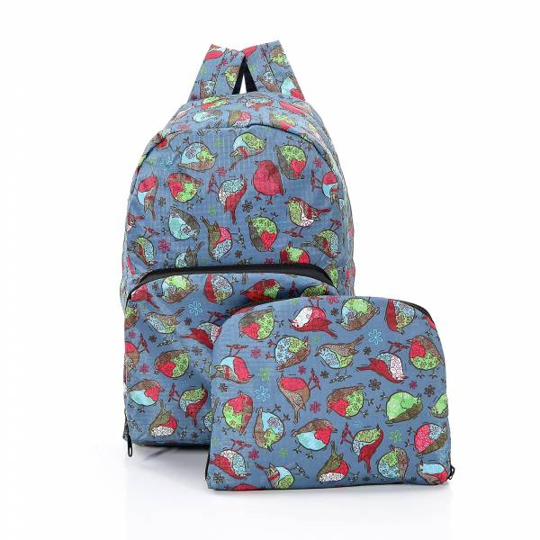 35326 Blue Robin Print Foldaway Backpack