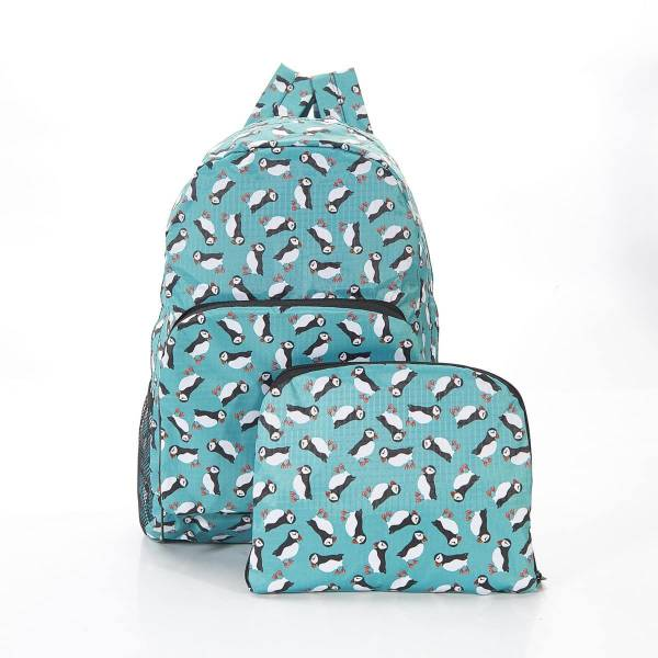 35333 Teal Puffin Print Foldaway Backpack
