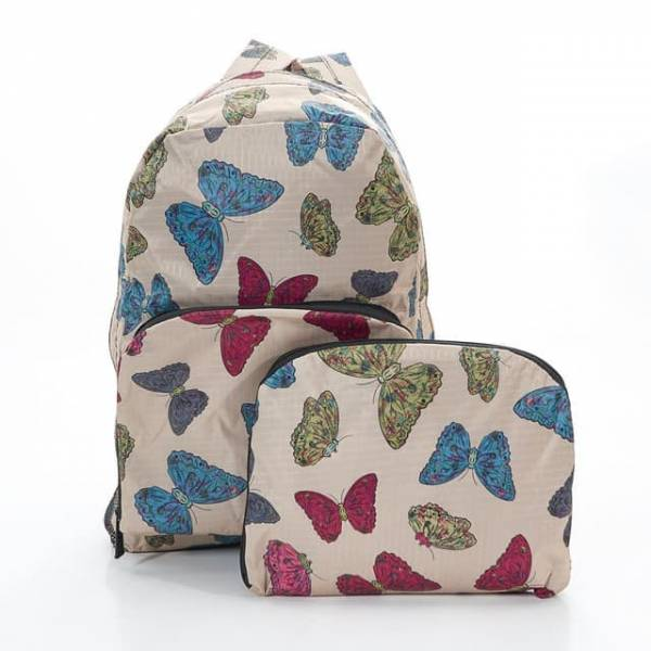 35334 Beige Butterflies Foldable Backpack