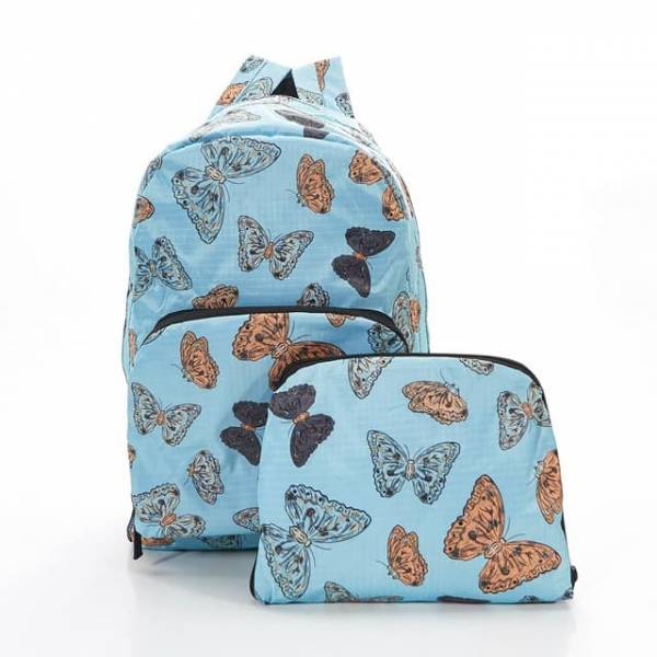 35334 Blue Butterflies Foldable Backpack