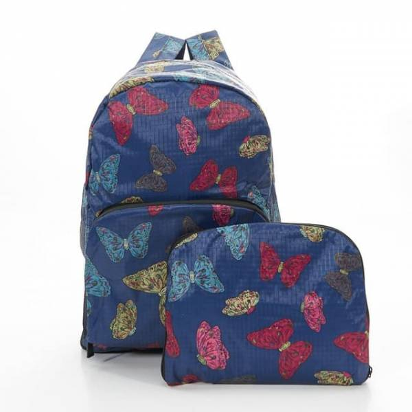 35334 Navy Butterflies Foldable Backpack