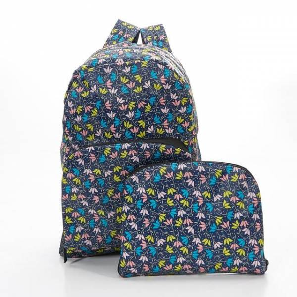 35335 B04  Black Ditsy Doodle Foldable Backpack