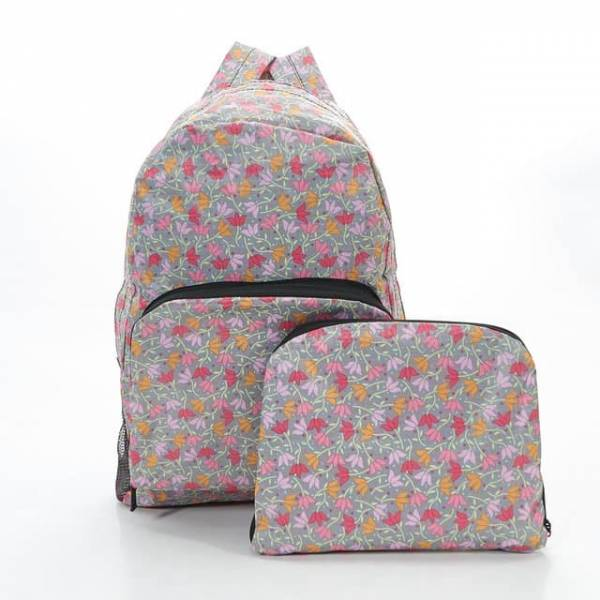 35335 B04  Grey Ditsy Doodle Foldable Backpack