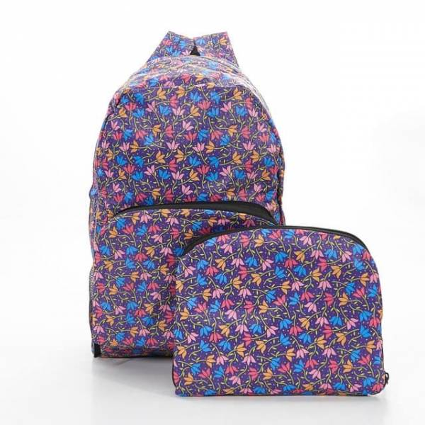 35335 B04  Purple Ditsy Doodle Foldable Backpack