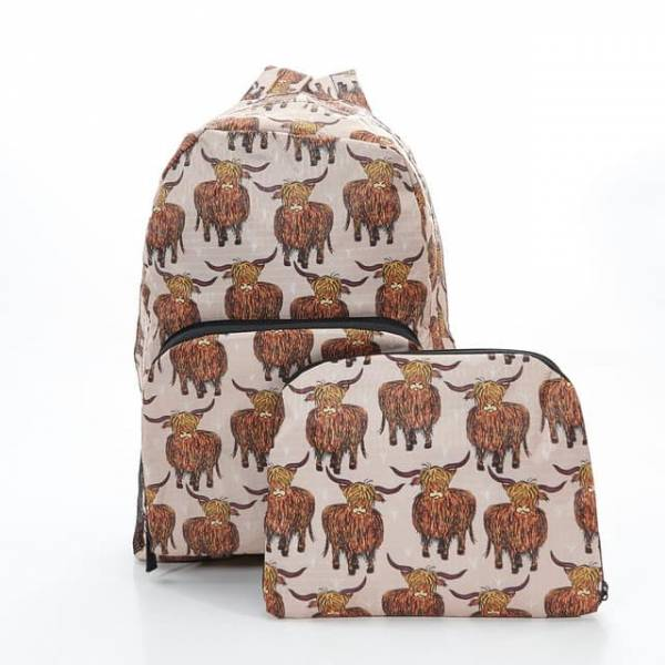 35340 B24 Beige Highland Cow Foldable Backpack