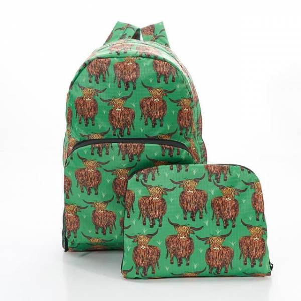 35340 B24 Green Highland Cow Foldable Backpack