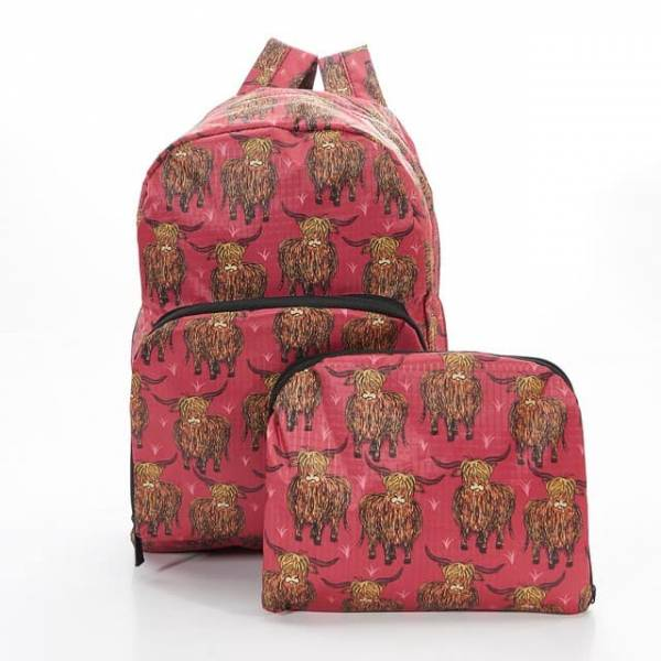 35340 Red Highland Cow Foldable Backpack