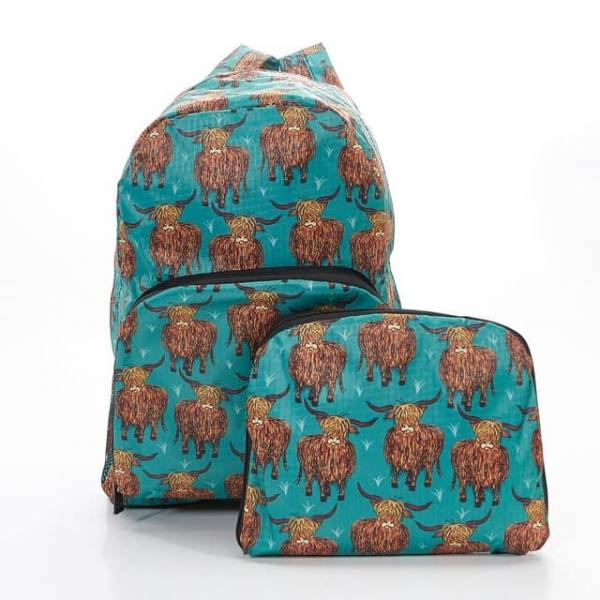 35340 Teal Highland Cow Foldable Backpack