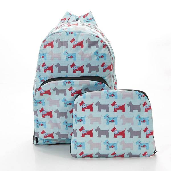35341 Blue Floral Scotty Dog Foldable Backpack