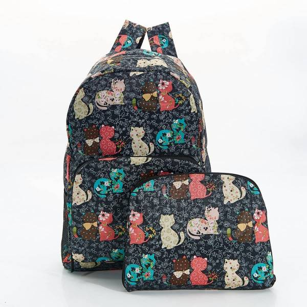 35344* Black Cat Foldable Backpack