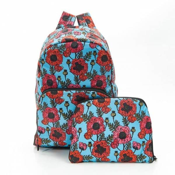 35347 B09  Blue Poppies Foldable Backpack