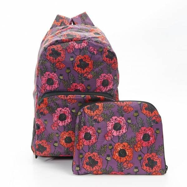 35347 B09  Purple Poppies Foldable Backpack