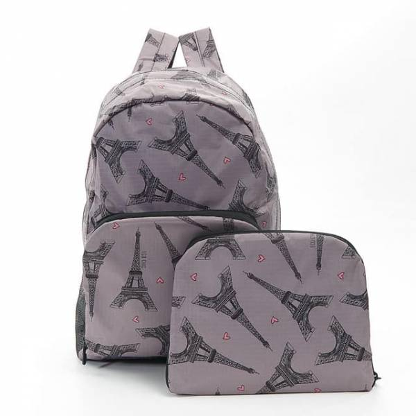 35350 Grey Eiffel Tower Foldable Backpack