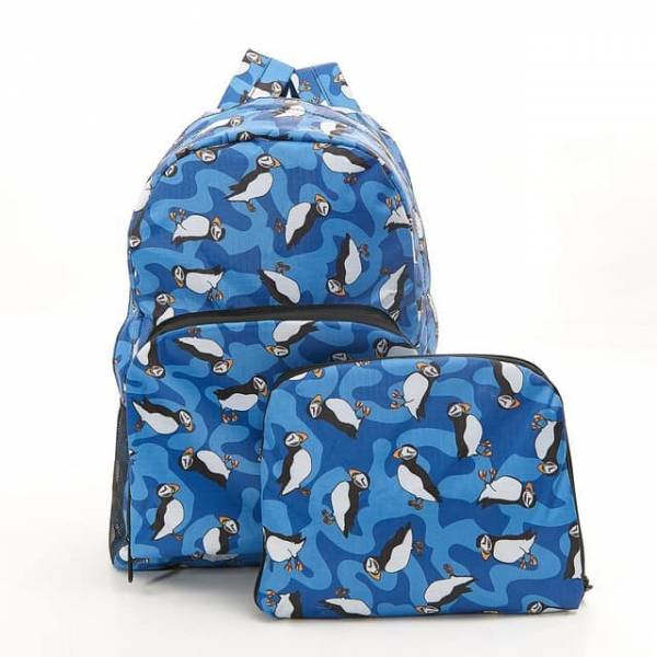 35351 B27  Royal Blue New Puffin Foldable Backpack