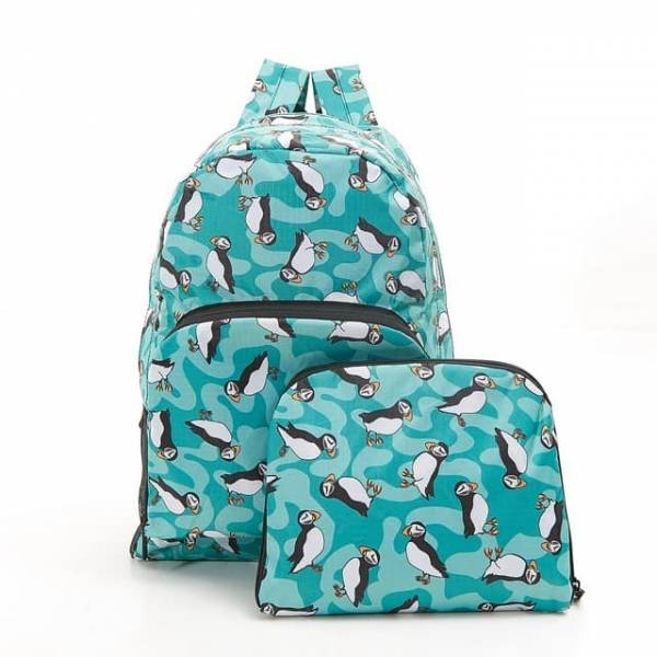 35351 B27  Teal New Puffin Foldable Backpack