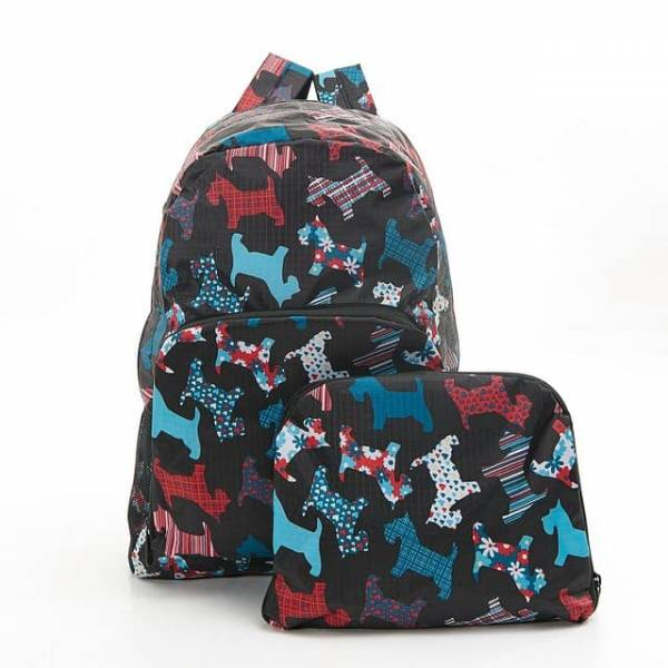 35352 B08  Black New Floral Scotty Dog Foldable Backpack