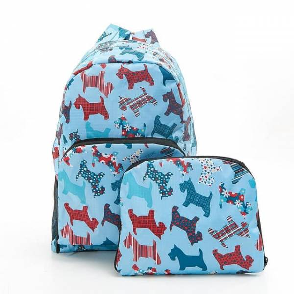 35352 Blue New Floral Scotty Dog Foldable Backpack