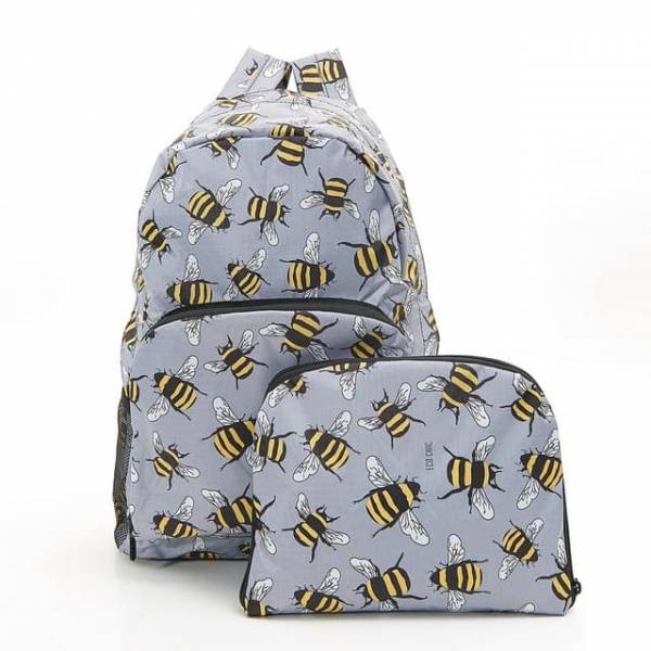 35353 B02  Grey Bee Foldable Backpack