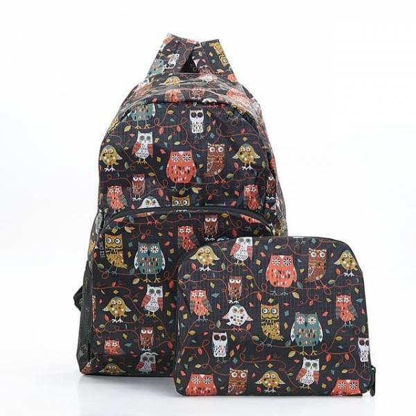 35354 Black Owl On The Branch Foldable Backpack