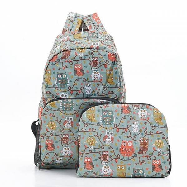 35354 Blue Owl On The Branch Foldable Backpack
