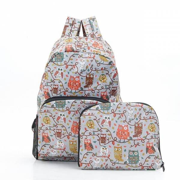 35354 Grey Owl On The Branch Foldable Backpack