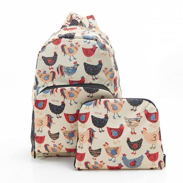 35355 Beige Chicken Foldable Backpack