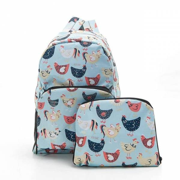 35355 Blue Chicken Foldable Backpack
