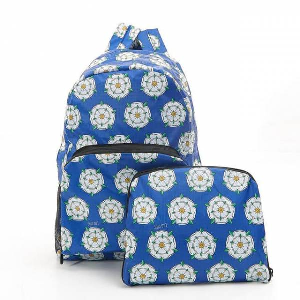 35358 Royal Blue Yorkshire Roses Foldable Backpack