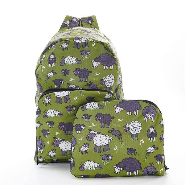 35363 Green Sheep Foldable Backpack