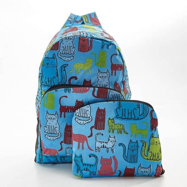35364 Blue Funky Cat Foldable Backpack