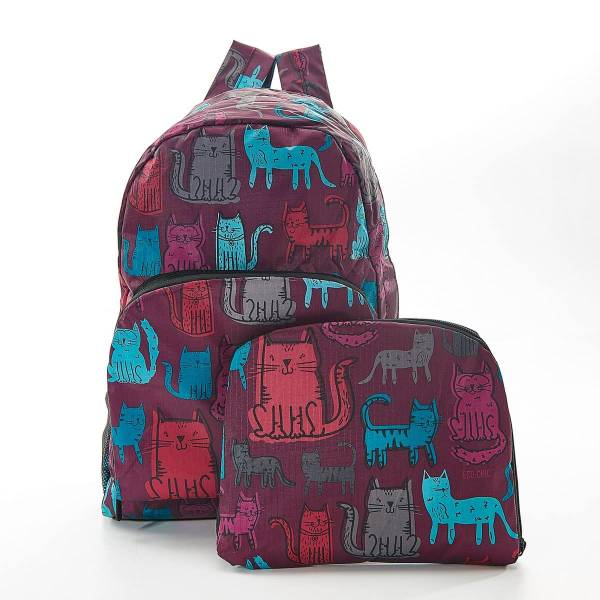 35364 Purple Funky Cat Foldable Backpack