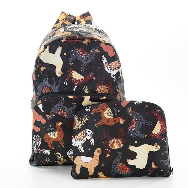 35365 Black Llama Foldable Backpack