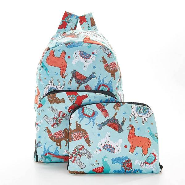 35365 Blue Llama Foldable Backpack