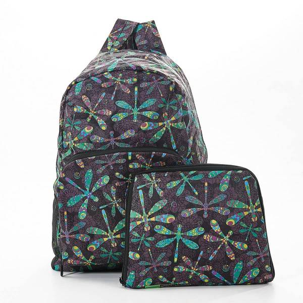 35366 B29  Black Dragonfly Foldable Backpack
