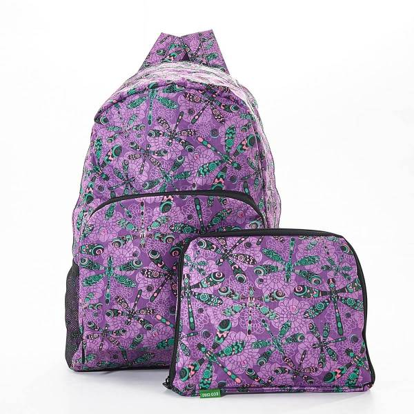 35366 B29  Purple Dragonfly Foldable Backpack