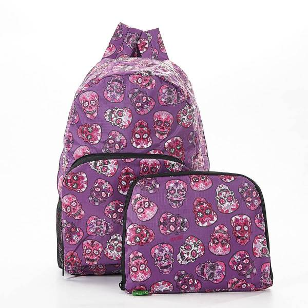35368 Purple Skull Foldable Backpack